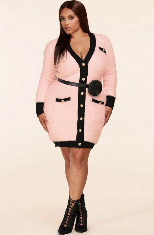 Pink Fuzzy Black Belted Mini Purse Dress Plus Size 7