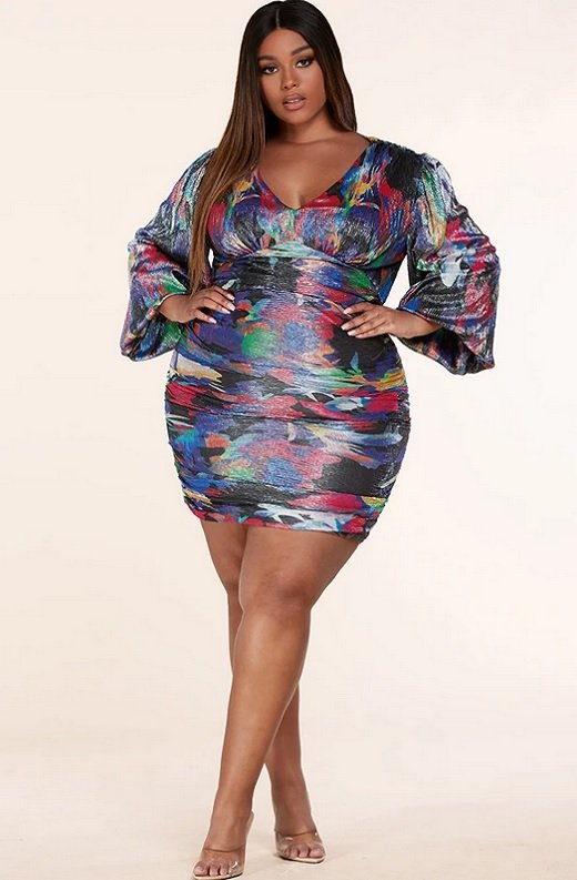 Purple Abstract Multi Color Print Ruched Mini Dress Plus Size 1