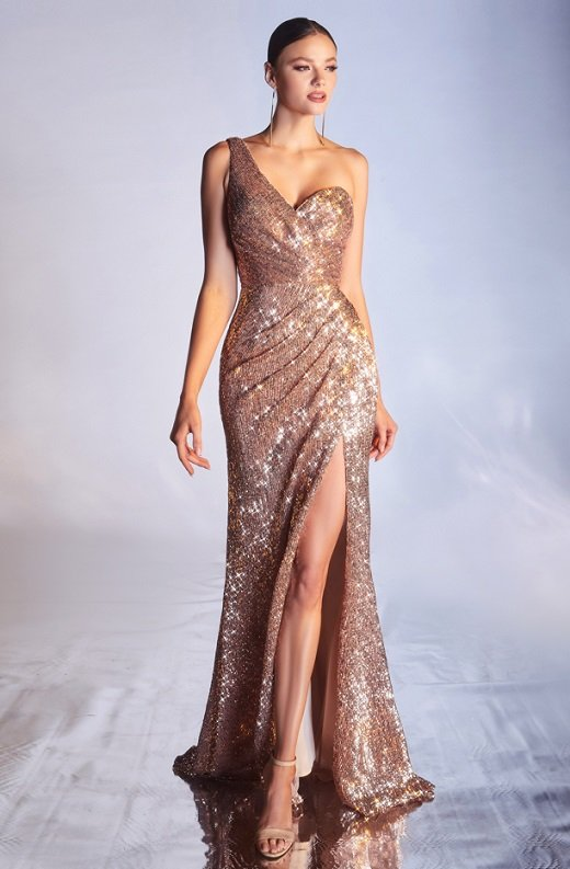Rose Gold Iridescent Sequins One Shoulder Sleeve Cut Out Gown 5