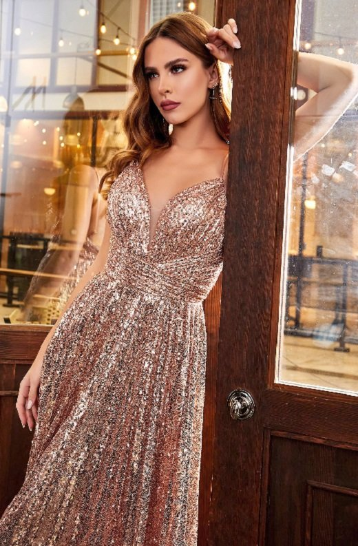 Rose Gold Iridescent Sequins Spaghetti Strapped Halter Gown 1