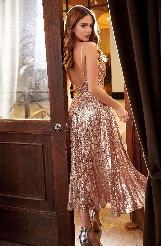 Rose Gold Iridescent Sequins Spaghetti Strapped Halter Gown 5