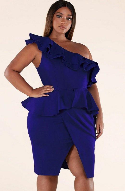 Royal Blue Midi Body Con Dress Plus Size 3