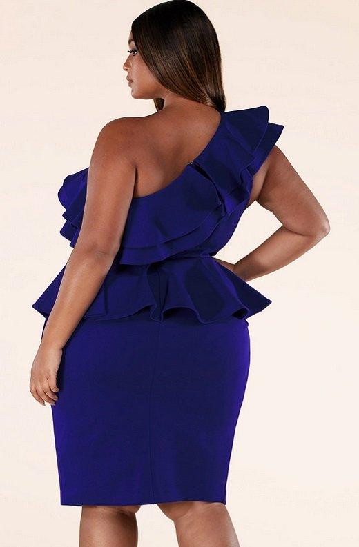 Royal Blue Midi Body Con Dress Plus Size 4