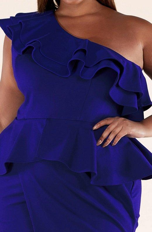 Royal Blue Midi Body Con Dress Plus Size 5