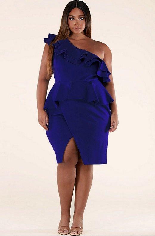 Royal Blue Midi Body Con Dress Plus Size 7