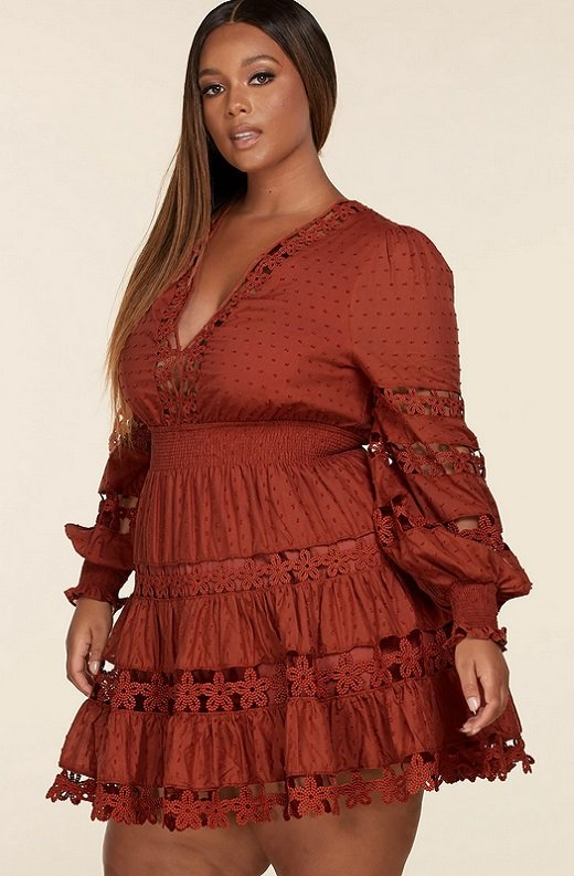 Rust Crochet Long Sleeves Lace Mini Dress Plus Size 2