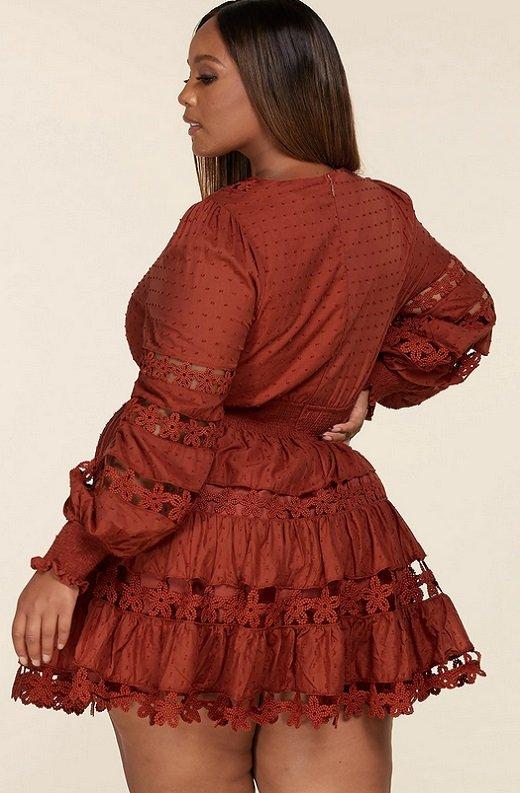 Rust Crochet Long Sleeves Lace Mini Dress Plus Size 3