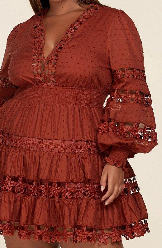 Rust Crochet Long Sleeves Lace Mini Dress Plus Size 4