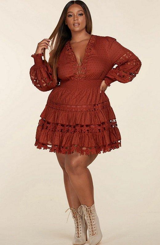 Rust Crochet Long Sleeves Lace Mini Dress Plus Size 5