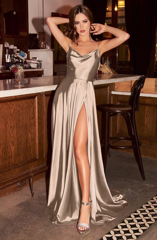 Sand Navy Cowl Neck Bridesmaids Gown 1