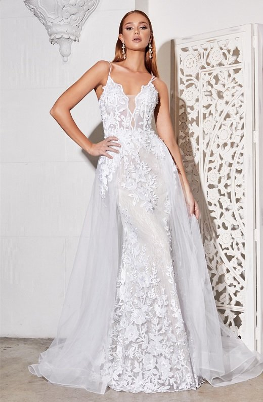 White Floral Embroidered Lace Layered Tulle Bridal Gown 1