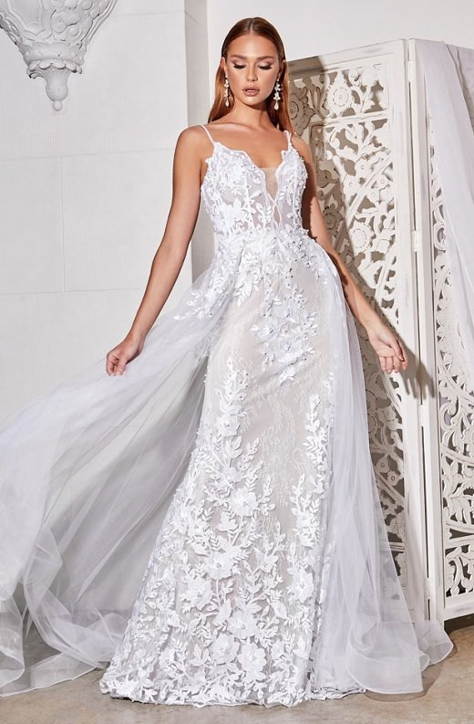 White Floral Embroidered Lace Layered Tulle Bridal Gown 2