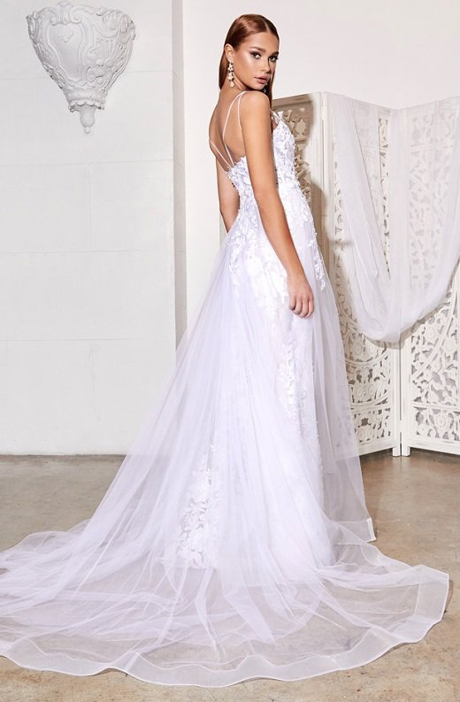 White Floral Embroidered Lace Layered Tulle Bridal Gown 3