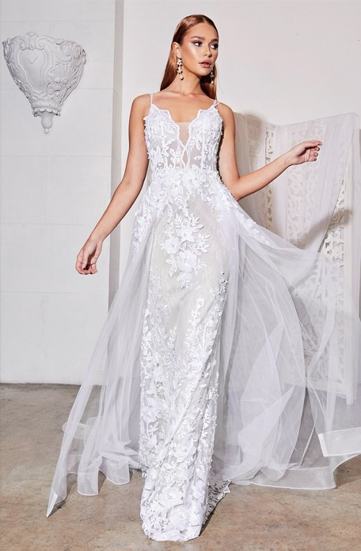 White Floral Embroidered Lace Layered Tulle Bridal Gown 4