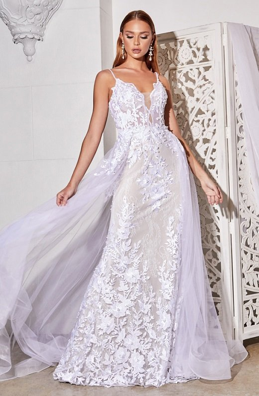 White Floral Embroidered Lace Layered Tulle Bridal Gown 5
