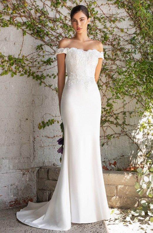 White Floral Fitted Off Shoulder Bridal Gown 1