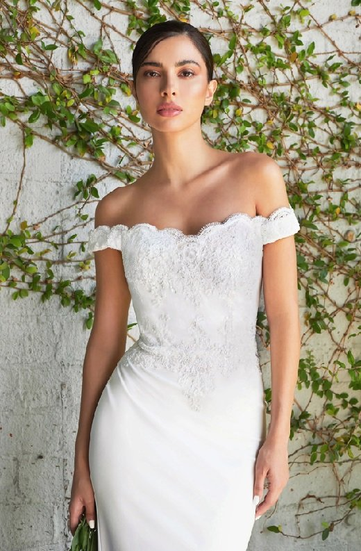 White Floral Fitted Off Shoulder Bridal Gown 3