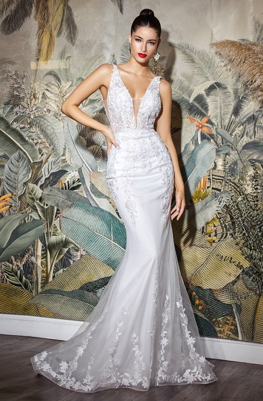 White Sheer Floral Embroidered Mermaid Wedding Gown 1
