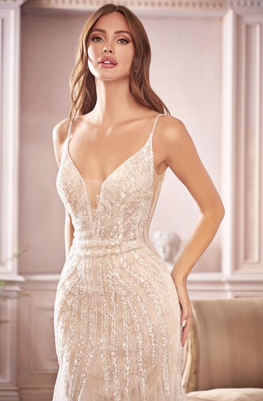 White Shimmer Beaded Mermaid Lace Layered Tulle Wedding Gown 2