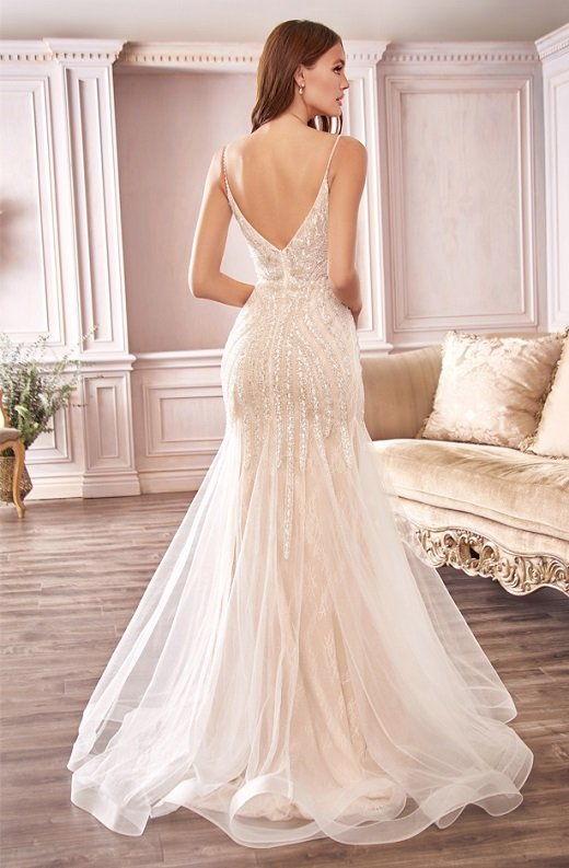 White Shimmer Beaded Mermaid Lace Layered Tulle Wedding Gown 3