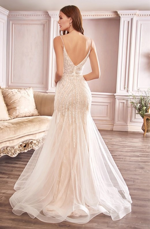 White Shimmer Beaded Mermaid Lace Layered Tulle Wedding Gown 4