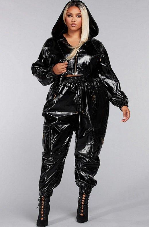 Black Faux Leather Pants Two Piece Hoodie Set Plus Size 1