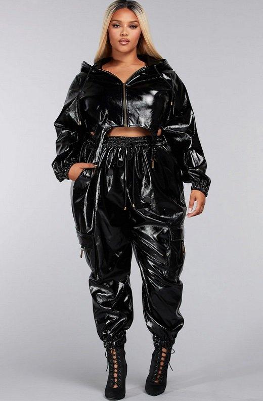 Black Faux Leather Pants Two Piece Hoodie Set Plus Size 2
