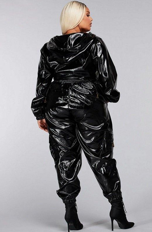 Black Faux Leather Pants Two Piece Hoodie Set Plus Size 4