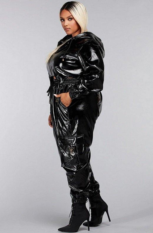 Black Faux Leather Pants Two Piece Hoodie Set Plus Size3
