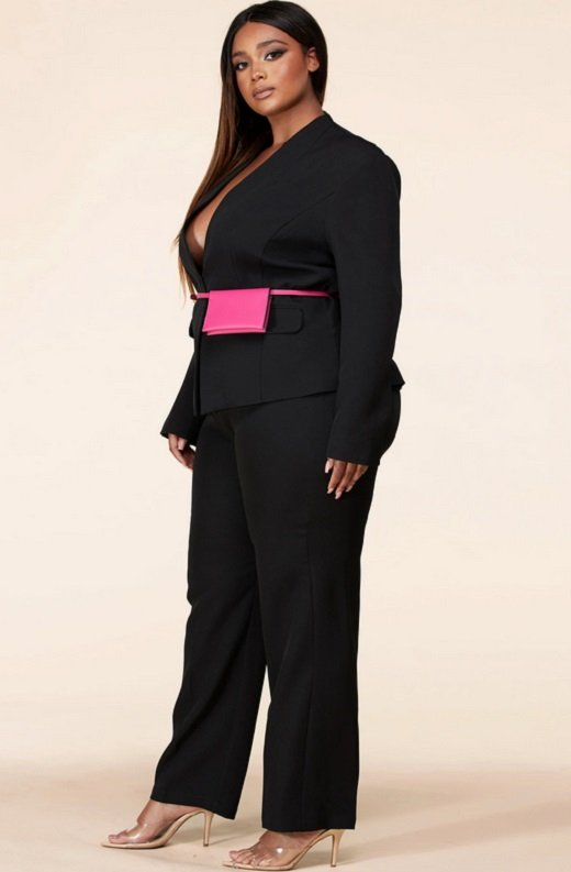 Black Notched Lapel Belted Blazer Set Plus Size 2