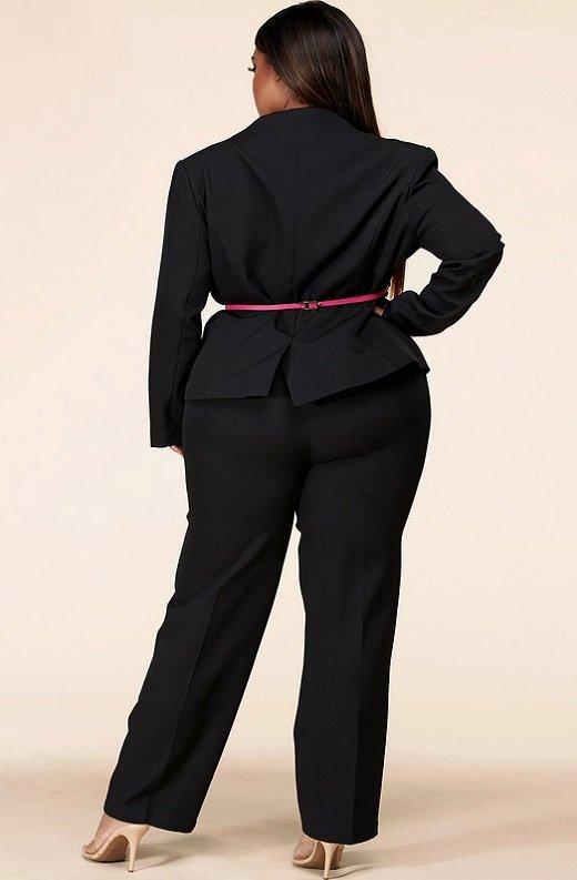 Black Notched Lapel Belted Blazer Set Plus Size 3
