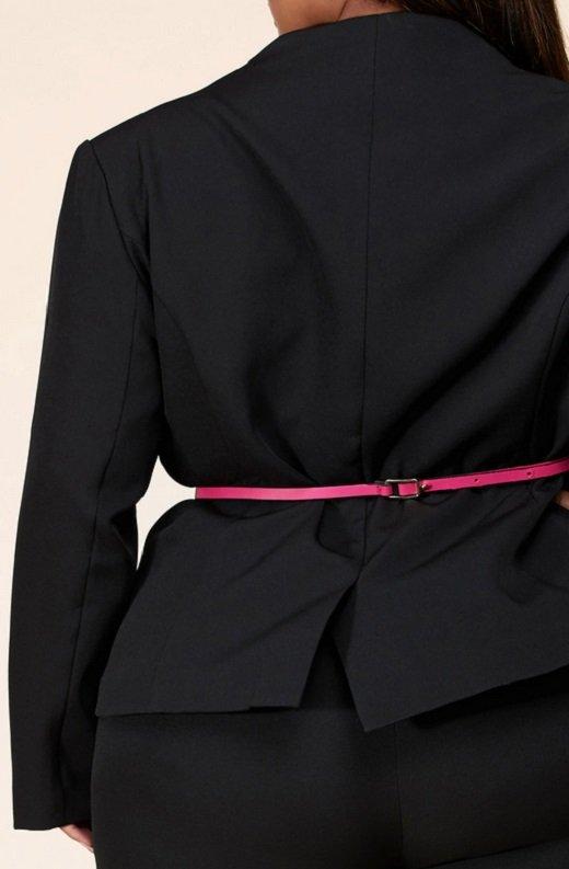 Black Notched Lapel Belted Blazer Set Plus Size 5
