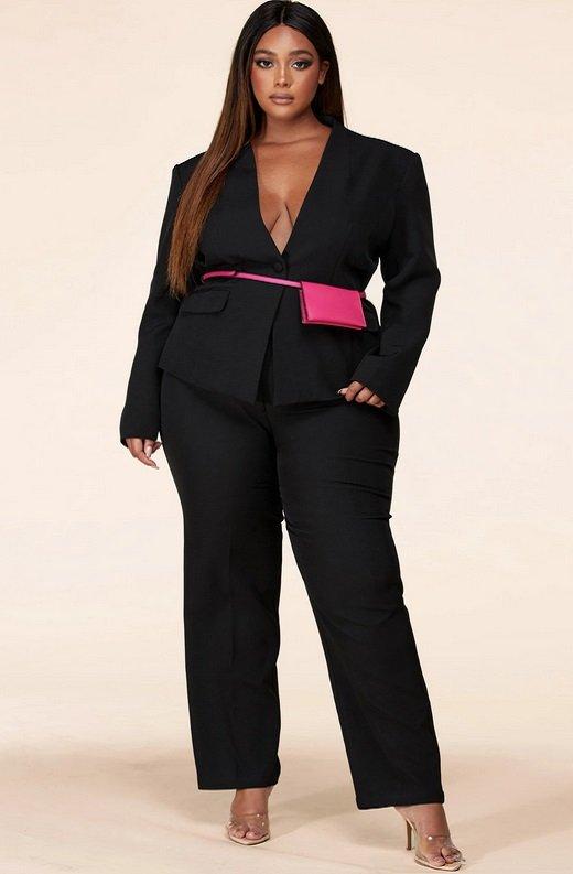 Black Notched Lapel Belted Blazer Set Plus Size 6