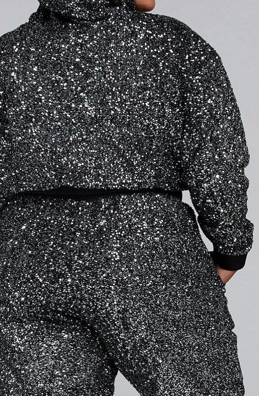 Black Rhinestone Embellished Two Piece Hoodie Set Plus Size 5