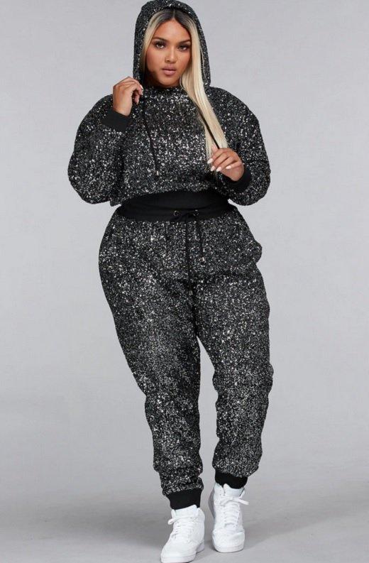 Black Rhinestone Embellished Two Piece Hoodie Set Plus Size 6