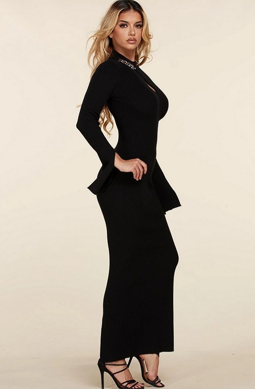 Black Ribbed Knit Shoulder Chain Maxi Dress 2