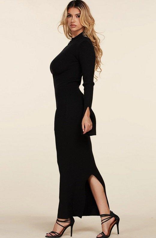 Black Ribbed Knit Shoulder Chain Maxi Dress 3