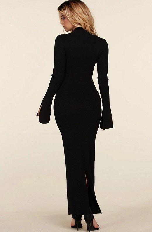 Black Ribbed Knit Shoulder Chain Maxi Dress 4
