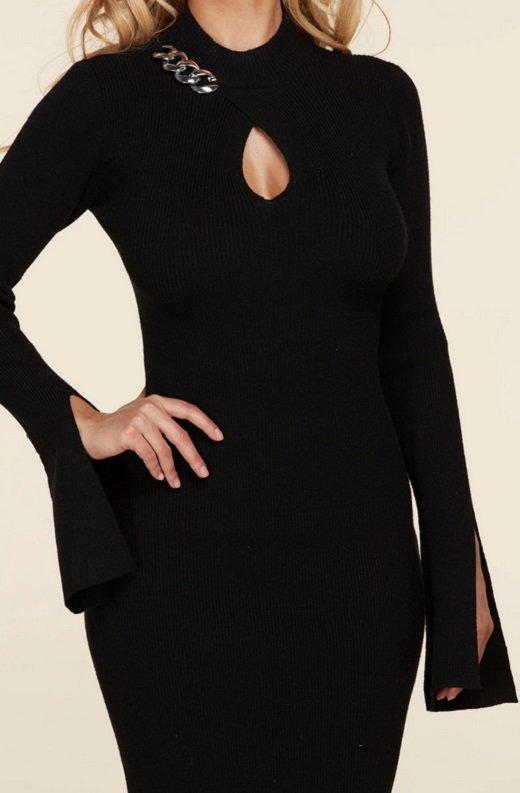 Black Ribbed Knit Shoulder Chain Maxi Dress 5