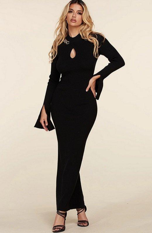 Black Ribbed Knit Shoulder Chain Maxi Dress 7