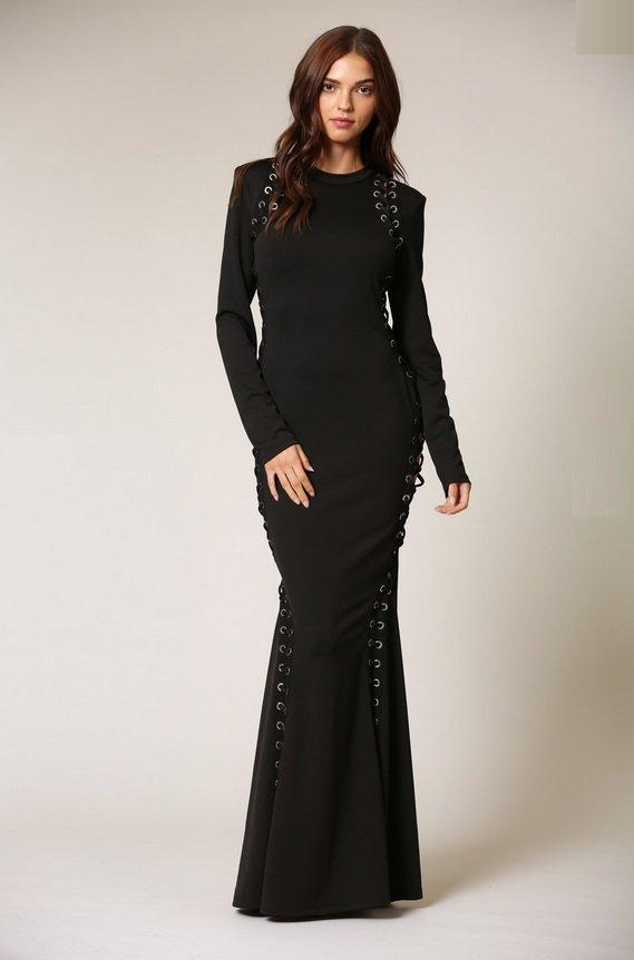 Black Round Neckline Lace Up Double Side Slit Dress 1
