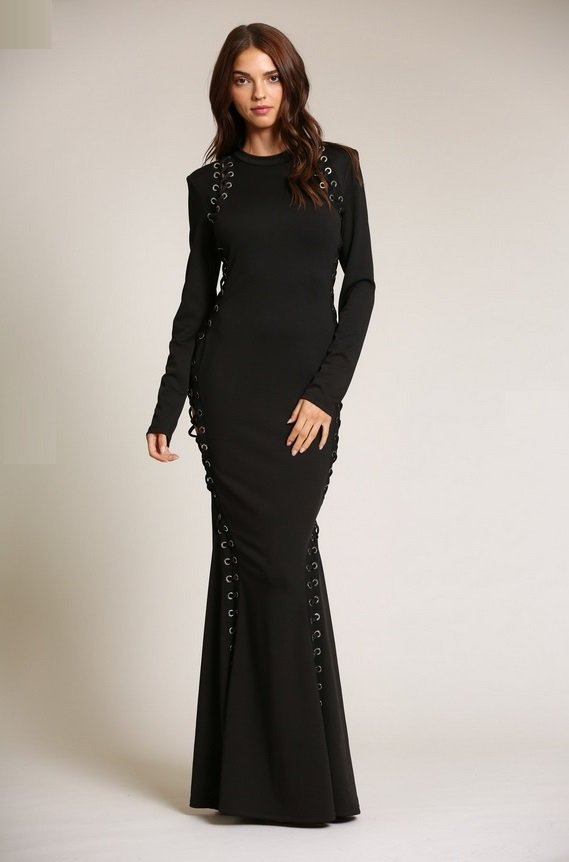 Black Round Neckline Lace Up Double Side Slit Dress 3