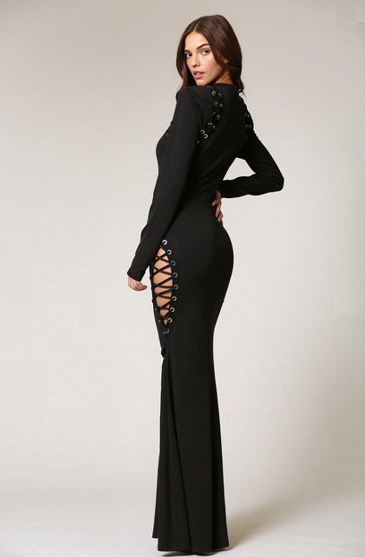 Black Round Neckline Lace Up Double Side Slit Dress 4