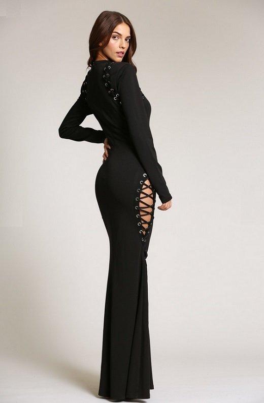 Black Round Neckline Lace Up Double Side Slit Dress 5