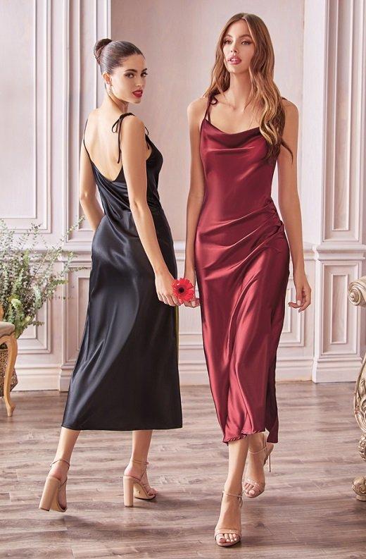 Black Slim Satin Cowl Neck Bridesmaids Midi Dress 2
