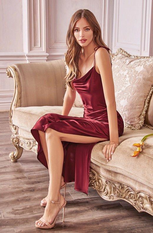 Burgundy Slim Satin Cowl Neck Bridesmaids Midi Dress 1