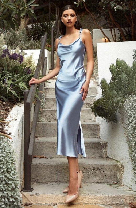 Dusty Blue Slim Satin Cowl Neck Bridesmaids Midi Dress 1