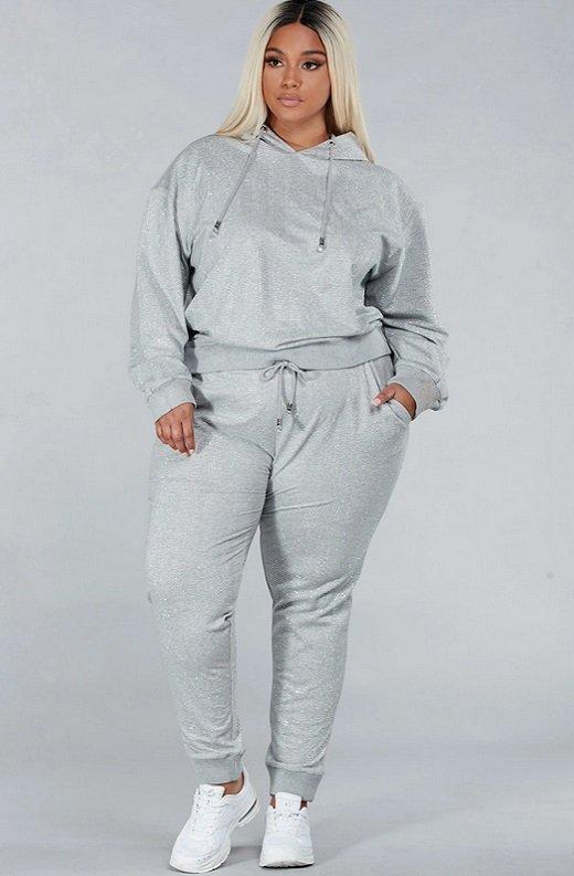 Gray Rhinestone Embellished Two Piece Hoodie Set Plus Size 2