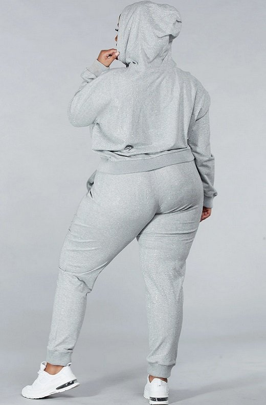 Gray Rhinestone Embellished Two Piece Hoodie Set Plus Size 4