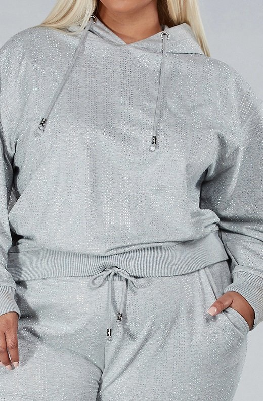 Gray Rhinestone Embellished Two Piece Hoodie Set Plus Size 5